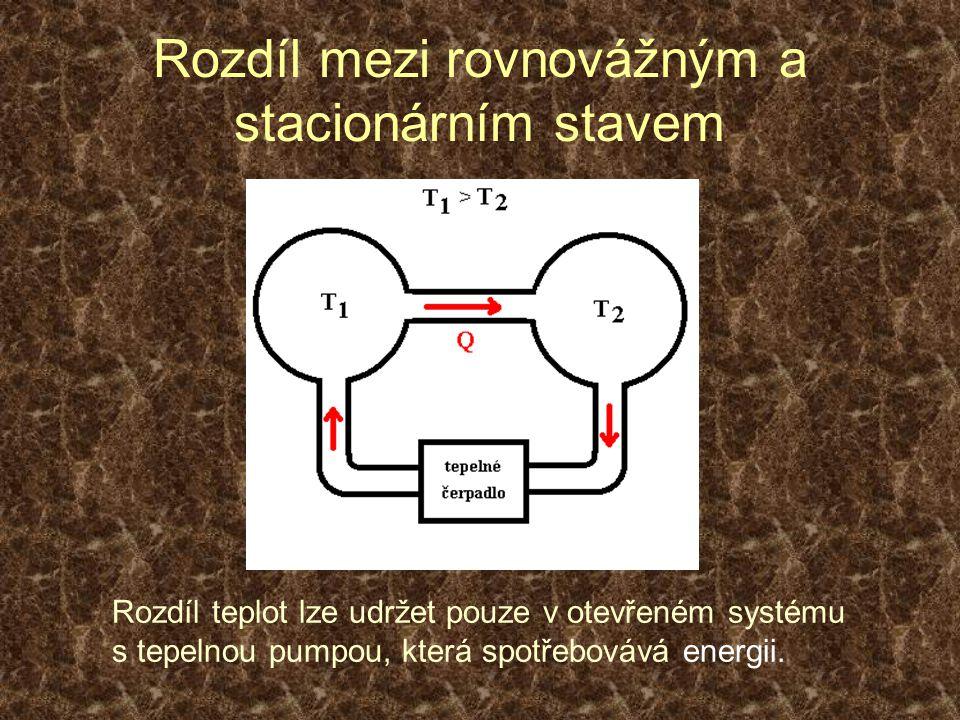 Rozdíl mezi rovnovážným a stacionárním stavem Rozdíl teplot lze udržet pouze v otevřeném systému s tepelnou pumpou, která spotřebovává energii.