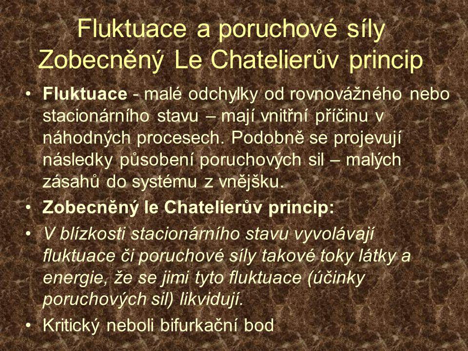 Fluktuace a poruchové síly Zobecněný Le Chatelierův princip Fluktuace - malé odchylky od rovnovážného nebo stacionárního stavu – mají vnitřní příčinu