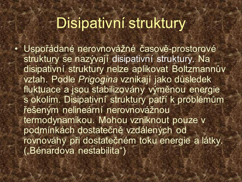 Disipativní struktury Uspořádané nerovnovážné časově-prostorové struktury se nazývají disipativní struktury. Na disipativní struktury nelze aplikovat
