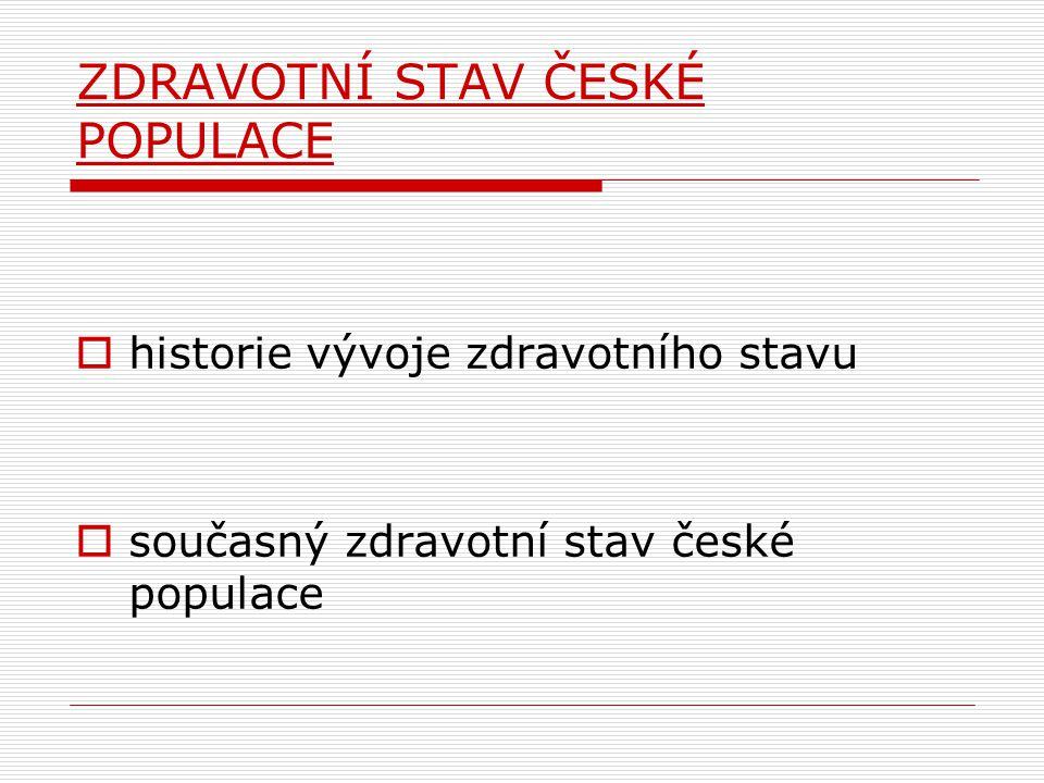 ZDRAVOTNÍ STAV ČESKÉ POPULACE  historie vývoje zdravotního stavu  současný zdravotní stav české populace