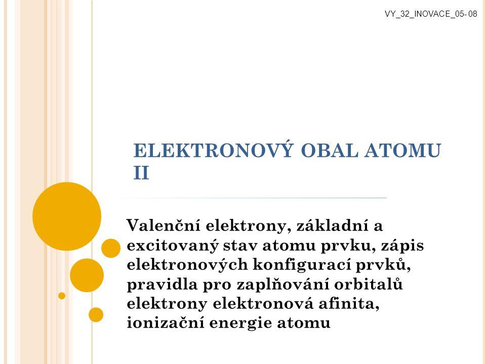 ELEKTRONOVÝ OBAL ATOMU II Valenční elektrony, základní a excitovaný stav atomu prvku, zápis elektronových konfigurací prvků, pravidla pro zaplňování o