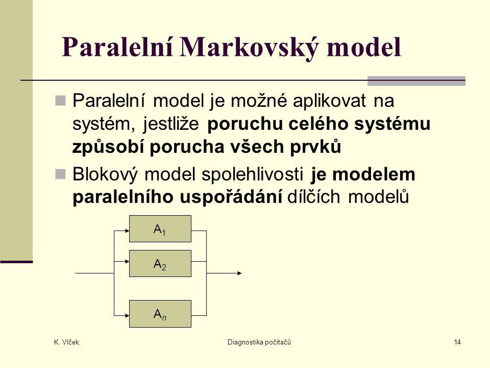 K. Vlček: Diagnostika počítačů14 Paralelní Markovský model Paralelní model je možné aplikovat na systém, jestliže poruchu celého systému způsobí poruc