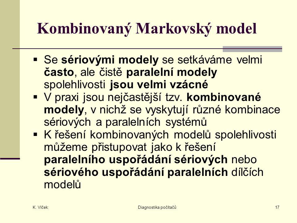 K. Vlček: Diagnostika počítačů17 Kombinovaný Markovský model  Se sériovými modely se setkáváme velmi často, ale čistě paralelní modely spolehlivosti