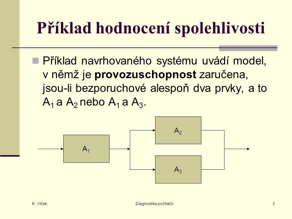 K. Vlček: Diagnostika počítačů3 Příklad hodnocení spolehlivosti Příklad navrhovaného systému uvádí model, v němž je provozuschopnost zaručena, jsou-li