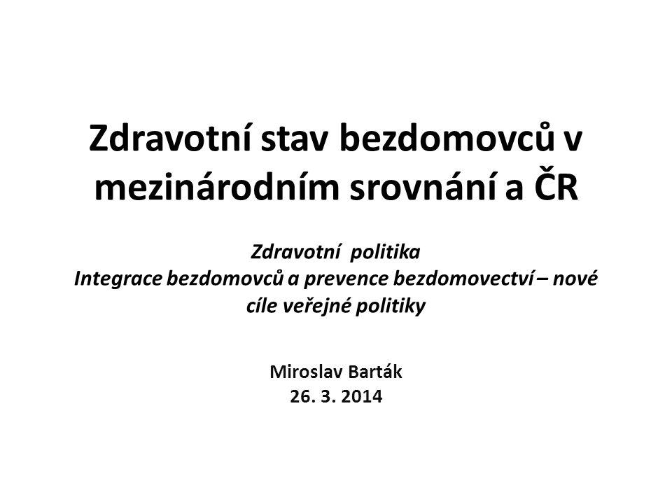 Obsah prezentace http://healthydebate.ca/2011/05/topic/cost-of-care/homelessnessmentalhealth Zdraví bezdomovců v zahraničních výzkumech Výsledky šetření IZPE z roku 2005/2006 – zdraví bezdomovců v ČR