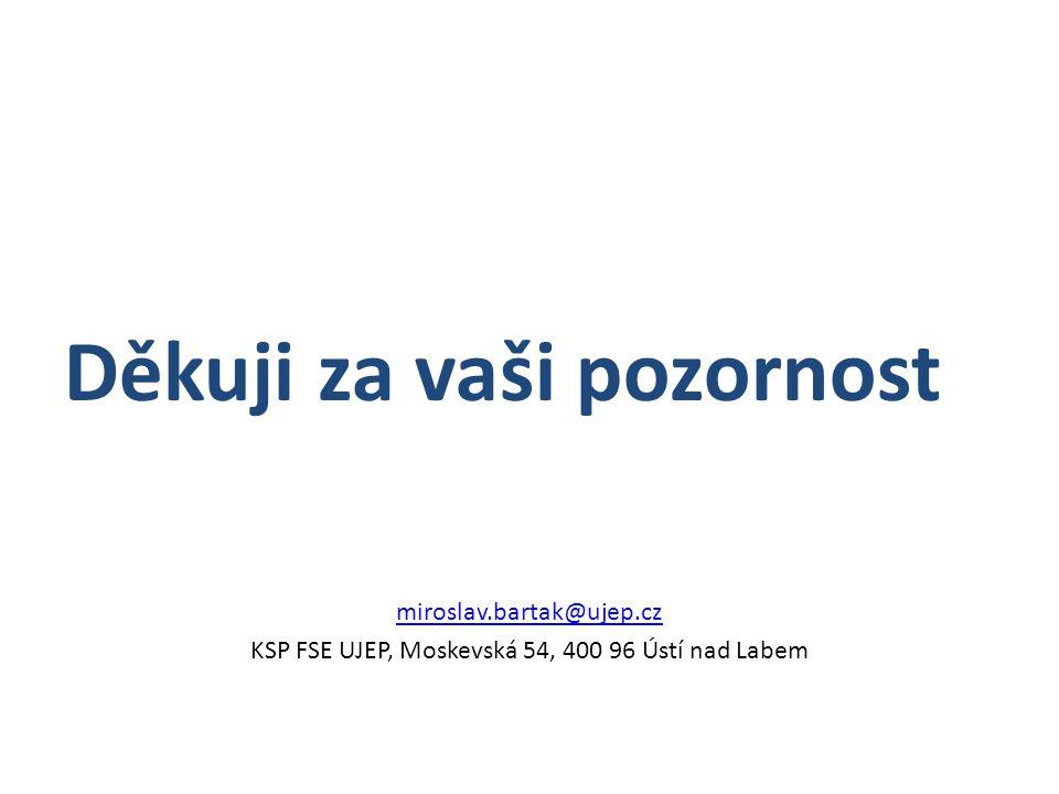 Děkuji za vaši pozornost miroslav.bartak@ujep.cz KSP FSE UJEP, Moskevská 54, 400 96 Ústí nad Labem