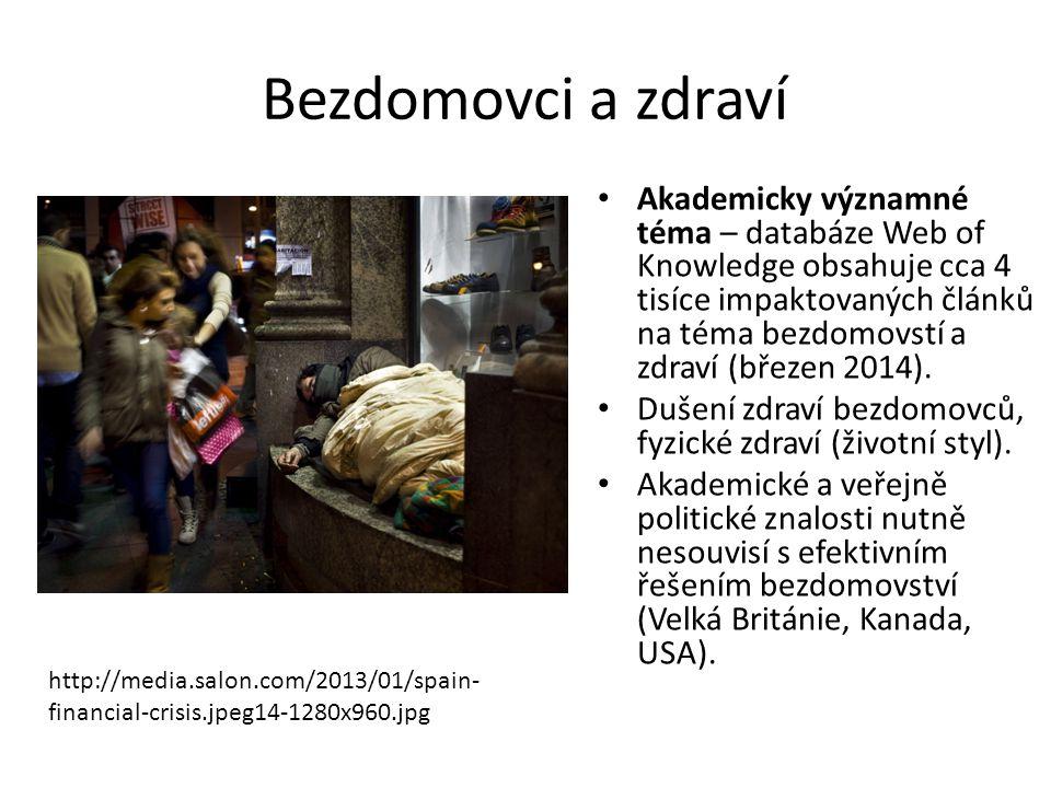 Bezdomovci a zdraví Akademicky významné téma – databáze Web of Knowledge obsahuje cca 4 tisíce impaktovaných článků na téma bezdomovstí a zdraví (břez