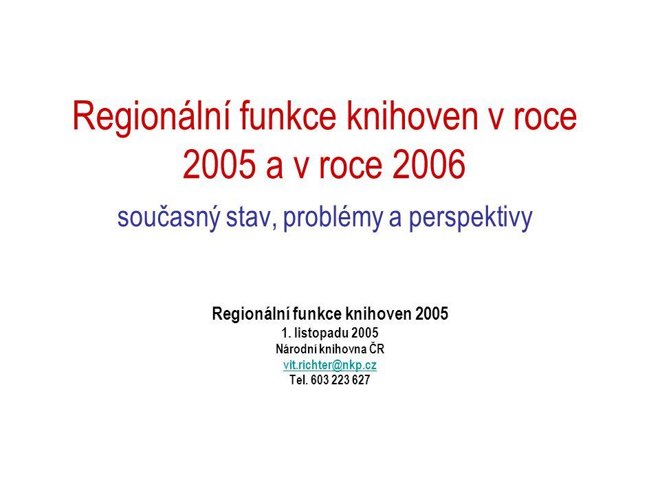 Regionální funkce knihoven v roce 2005 a v roce 2006 současný stav, problémy a perspektivy Regionální funkce knihoven 2005 1.
