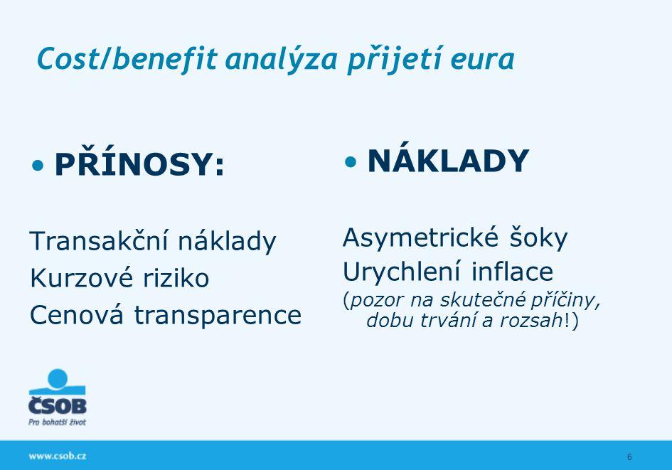 6 Cost/benefit analýza přijetí eura PŘÍNOSY: Transakční náklady Kurzové riziko Cenová transparence NÁKLADY Asymetrické šoky Urychlení inflace (pozor na skutečné příčiny, dobu trvání a rozsah!)