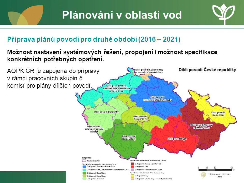 Plánování v oblasti vod Příprava plánů povodí pro druhé období (2016 – 2021) Možnost nastavení systémových řešení, propojení i možnost specifikace kon