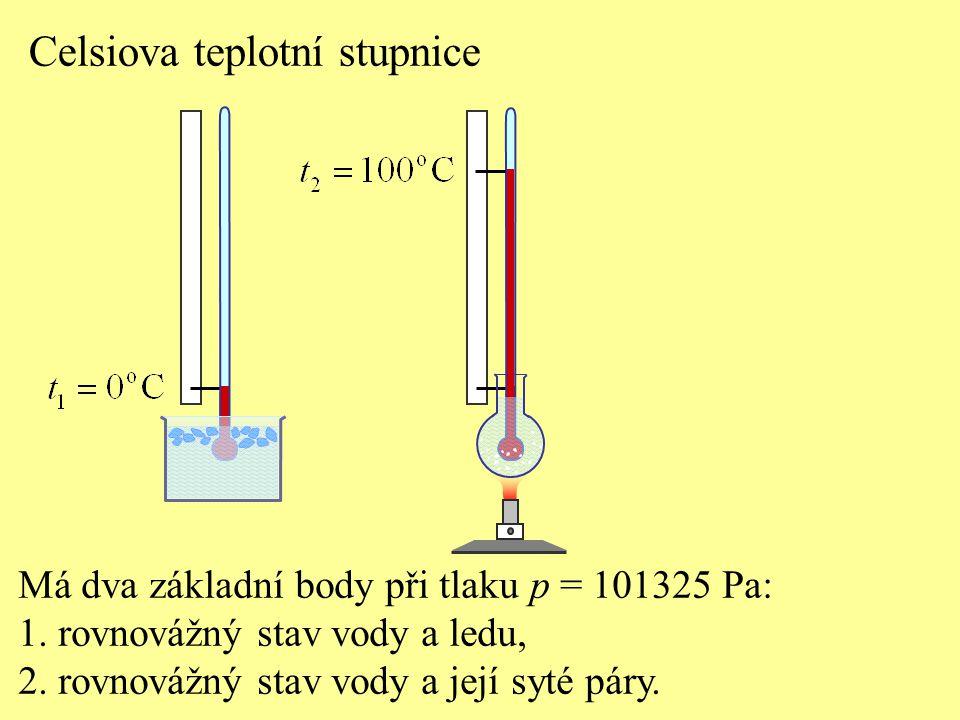 Celsiova teplotní stupnice Má dva základní body při tlaku p = 101325 Pa: 1. rovnovážný stav vody a ledu, 2. rovnovážný stav vody a její syté páry.