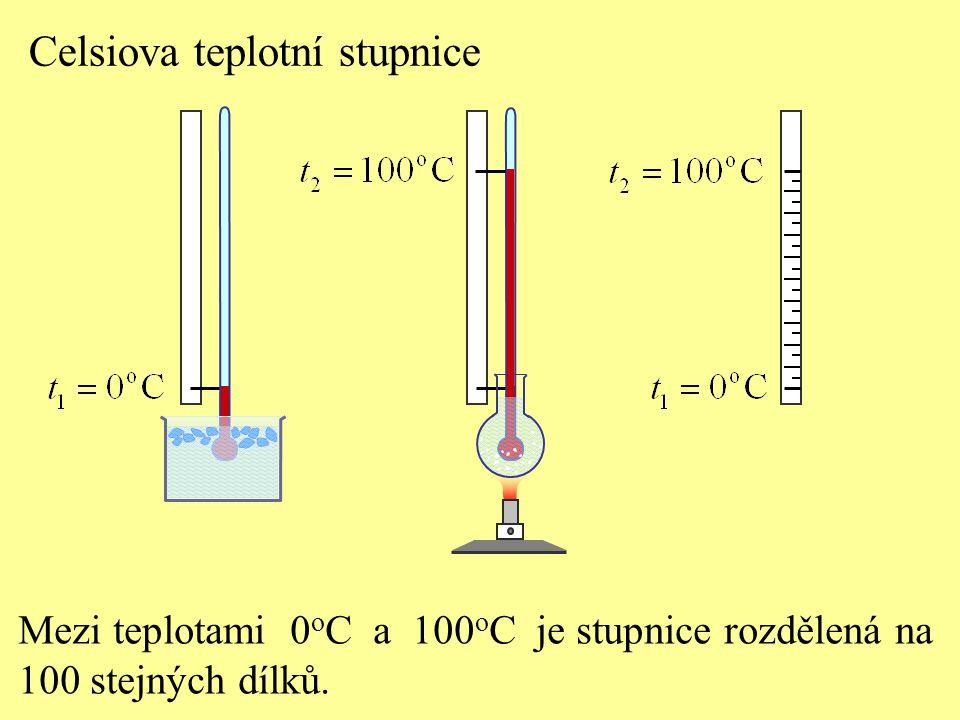 Celsiova teplotní stupnice Mezi teplotami 0 o C a 100 o C je stupnice rozdělená na 100 stejných dílků.