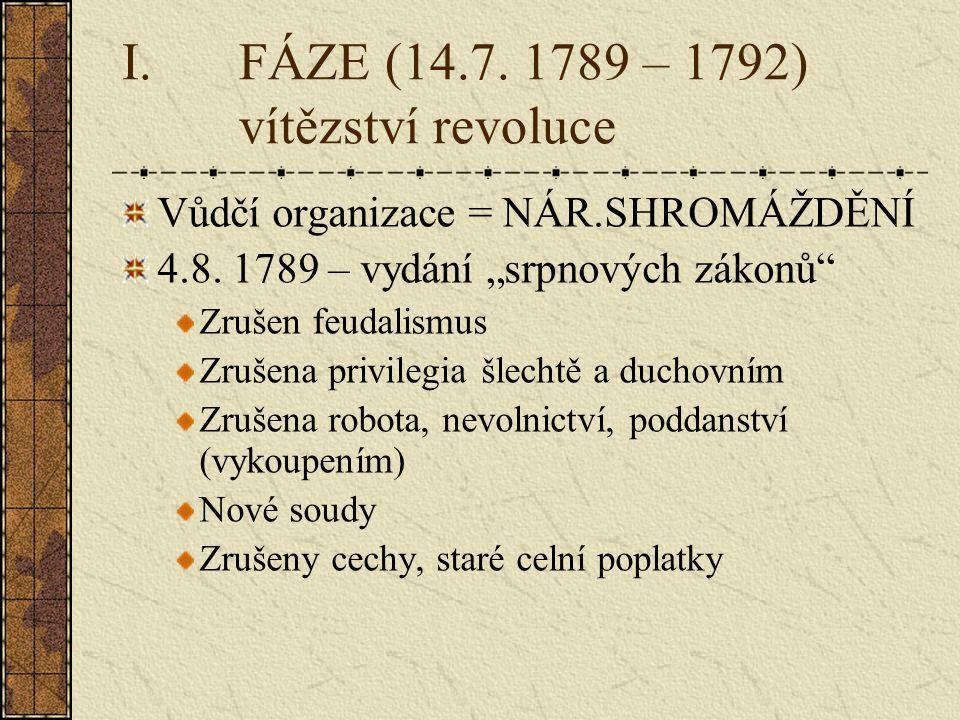 I.FÁZE (14.7.1789 – 1792) vítězství revoluce Vůdčí organizace = NÁR.SHROMÁŽDĚNÍ 4.8.