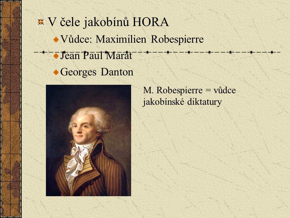 V čele jakobínů HORA Vůdce: Maximilien Robespierre Jean Paul Marat Georges Danton M.