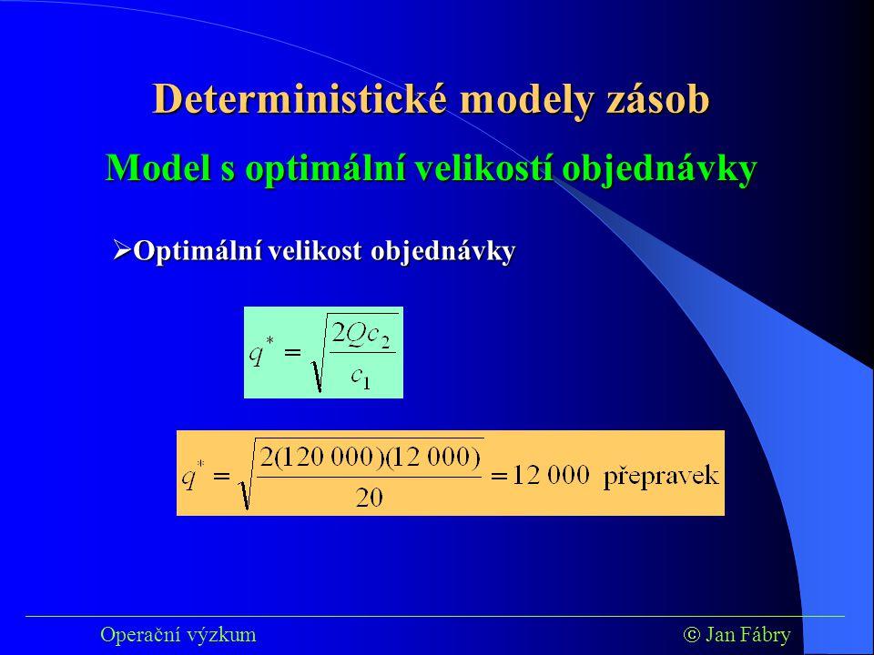 ___________________________________________________________________________ Operační výzkum  Jan Fábry Model s optimální velikostí objednávky  Optimální velikost objednávky Deterministické modely zásob