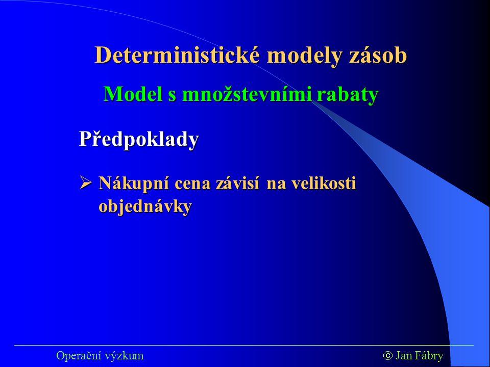 ___________________________________________________________________________ Operační výzkum  Jan Fábry Deterministické modely zásob Model s množstevními rabaty Předpoklady  Nákupní cena závisí na velikosti objednávky