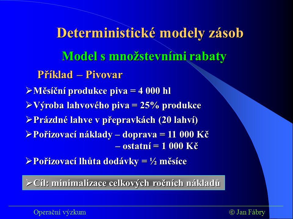 ___________________________________________________________________________ Operační výzkum  Jan Fábry Deterministické modely zásob Příklad – Pivovar Model s množstevními rabaty  Výroba lahvového piva = 25% produkce  Prázdné lahve v přepravkách (20 lahví)  Pořizovací náklady – doprava = 11 000 Kč – ostatní = 1 000 Kč  Pořizovací lhůta dodávky = ½ měsíce  Cíl: minimalizace celkových ročních nákladů  Měsíční produkce piva = 4 000 hl