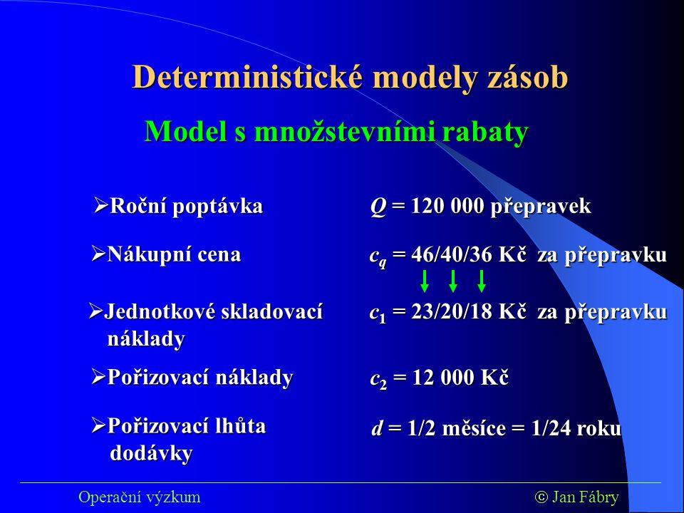 ___________________________________________________________________________ Operační výzkum  Jan Fábry Deterministické modely zásob  Roční poptávka Q = 120 000 přepravek  Jednotkové skladovací náklady c 1 = 23/20/18 Kč za přepravku  Pořizovací lhůta dodávky d = 1/2 měsíce = 1/24 roku Model s množstevními rabaty  Pořizovací náklady c 2 = 12 000 Kč  Nákupní cena c q = 46/40/36 Kč za přepravku
