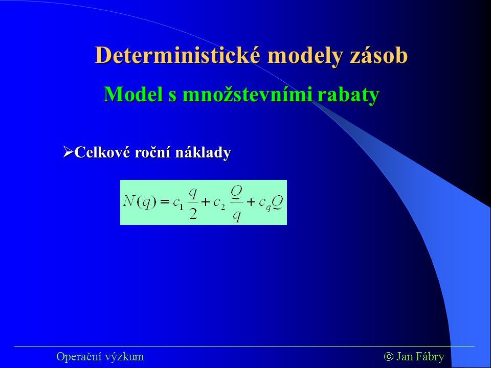 ___________________________________________________________________________ Operační výzkum  Jan Fábry Deterministické modely zásob  Celkové roční náklady Model s množstevními rabaty