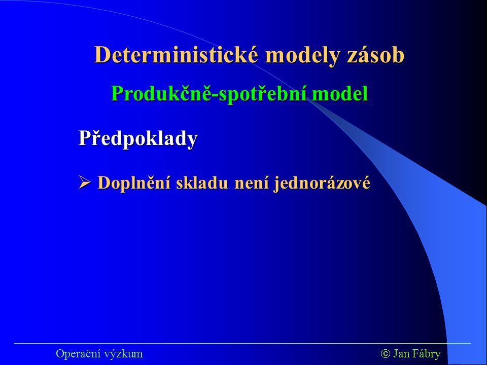 ___________________________________________________________________________ Operační výzkum  Jan Fábry Deterministické modely zásob Produkčně-spotřební model Předpoklady  Doplnění skladu není jednorázové