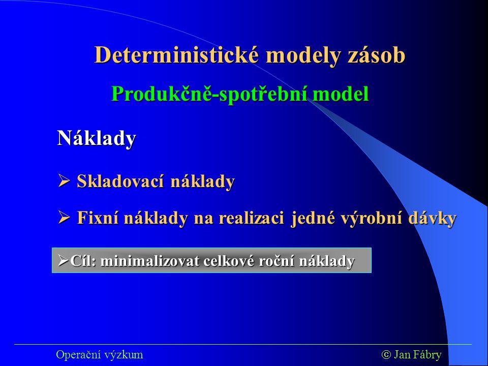 ___________________________________________________________________________ Operační výzkum  Jan Fábry Deterministické modely zásob Produkčně-spotřební model Náklady  Skladovací náklady  Fixní náklady na realizaci jedné výrobní dávky  Cíl: minimalizovat celkové roční náklady