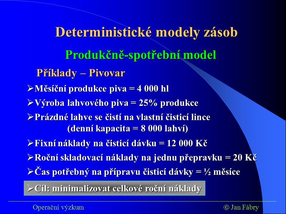 ___________________________________________________________________________ Operační výzkum  Jan Fábry Deterministické modely zásob Příklady – Pivovar  Měsíční produkce piva = 4 000 hl  Výroba lahvového piva = 25% produkce  Prázdné lahve se čistí na vlastní čisticí lince (denní kapacita = 8 000 lahví)  Fixní náklady na čisticí dávku = 12 000 Kč  Čas potřebný na přípravu čisticí dávky = ½ měsíce  Cíl: minimalizovat celkové roční náklady Produkčně-spotřební model  Roční skladovací náklady na jednu přepravku = 20 Kč
