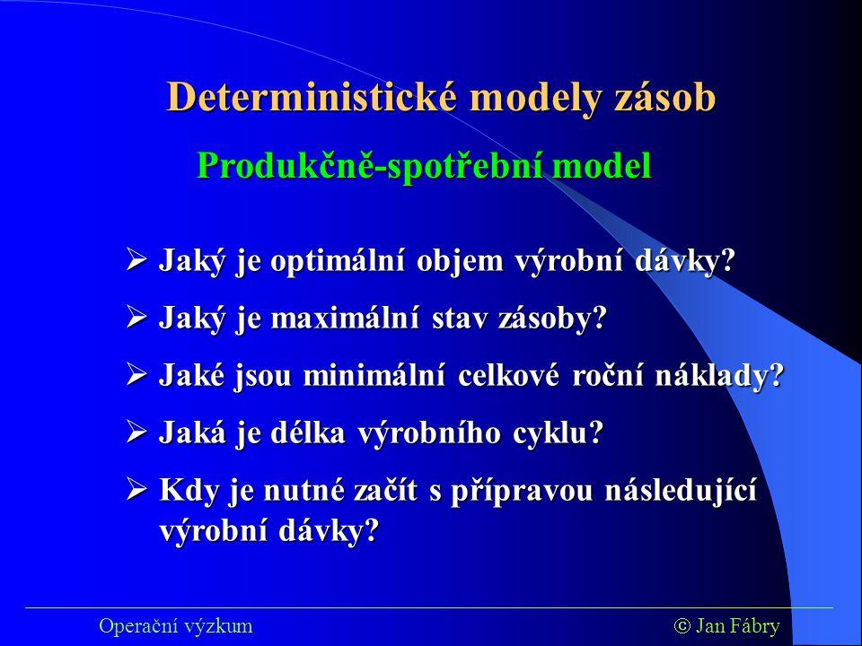 ___________________________________________________________________________ Operační výzkum  Jan Fábry Deterministické modely zásob  Jaký je optimální objem výrobní dávky.