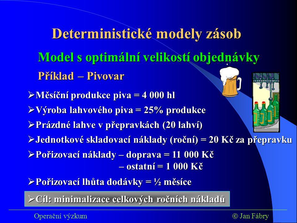 ___________________________________________________________________________ Operační výzkum  Jan Fábry Model s optimální velikostí objednávky Příklad – Pivovar  Měsíční produkce piva = 4 000 hl  Výroba lahvového piva = 25% produkce  Prázdné lahve v přepravkách (20 lahví)  Jednotkové skladovací náklady (roční) = 20 Kč za přepravku  Pořizovací náklady – doprava = 11 000 Kč – ostatní = 1 000 Kč  Pořizovací lhůta dodávky = ½ měsíce  Cíl: minimalizace celkových ročních nákladů Deterministické modely zásob