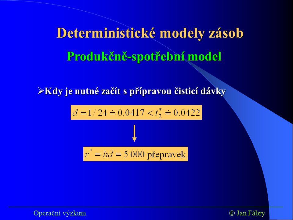 ___________________________________________________________________________ Operační výzkum  Jan Fábry Deterministické modely zásob Produkčně-spotřební model  Kdy je nutné začít s přípravou čisticí dávky