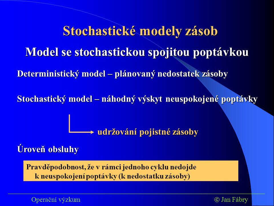 ___________________________________________________________________________ Operační výzkum  Jan Fábry Stochastické modely zásob Deterministický model – plánovaný nedostatek zásoby Model se stochastickou spojitou poptávkou Stochastický model – náhodný výskyt neuspokojené poptávky udržování pojistné zásoby Úroveň obsluhy Pravděpodobnost, že v rámci jednoho cyklu nedojde k neuspokojení poptávky (k nedostatku zásoby)