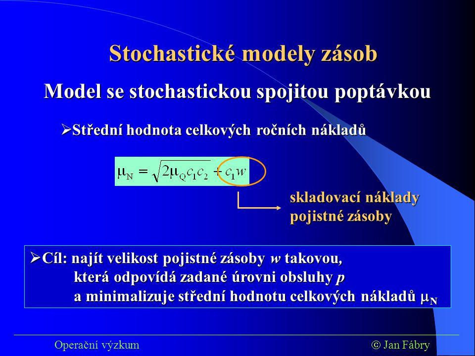 ___________________________________________________________________________ Operační výzkum  Jan Fábry Stochastické modely zásob  Střední hodnota celkových ročních nákladů Model se stochastickou spojitou poptávkou skladovací náklady pojistné zásoby  Cíl: najít velikost pojistné zásoby w takovou, která odpovídá zadané úrovni obsluhy p a minimalizuje střední hodnotu celkových nákladů  N