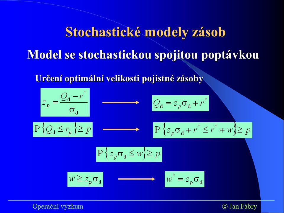 ___________________________________________________________________________ Operační výzkum  Jan Fábry Stochastické modely zásob Určení optimální velikosti pojistné zásoby Model se stochastickou spojitou poptávkou