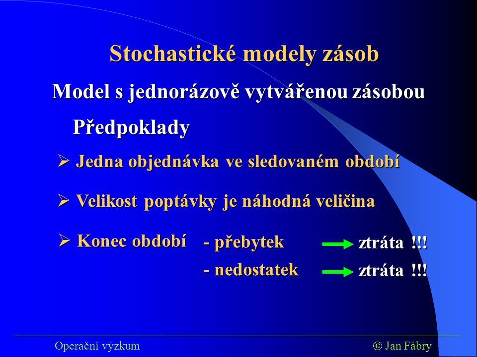 ___________________________________________________________________________ Operační výzkum  Jan Fábry Stochastické modely zásob Model s jednorázově vytvářenou zásobou Předpoklady  Jedna objednávka ve sledovaném období  Velikost poptávky je náhodná veličina  Konec období - přebytek - přebytek - nedostatek - nedostatek ztráta !!!