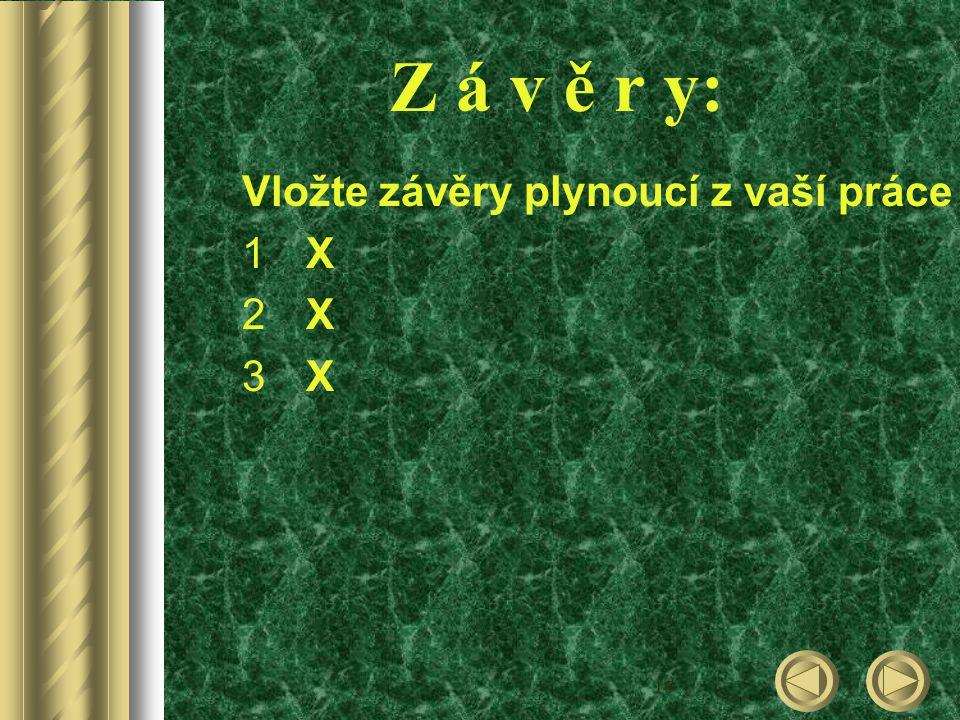 16 Z á v ě r y: Vložte závěry plynoucí z vaší práce 1X1X 2X2X 3X3X