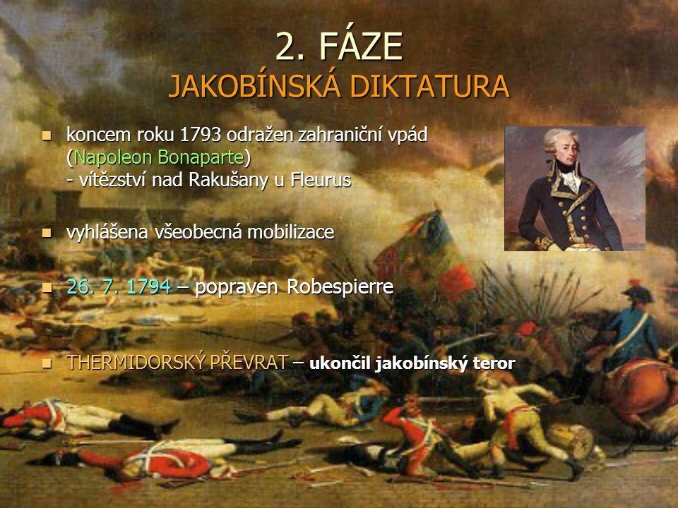 2. FÁZE JAKOBÍNSKÁ DIKTATURA koncem roku 1793 odražen zahraniční vpád (Napoleon Bonaparte) - vítězství nad Rakušany u Fleurus koncem roku 1793 odražen