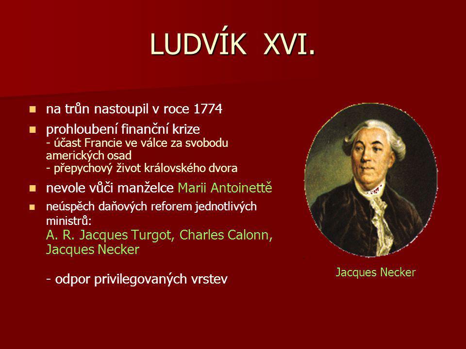 LUDVÍK XVI. na trůn nastoupil v roce 1774 prohloubení finanční krize - účast Francie ve válce za svobodu amerických osad - přepychový život královskéh