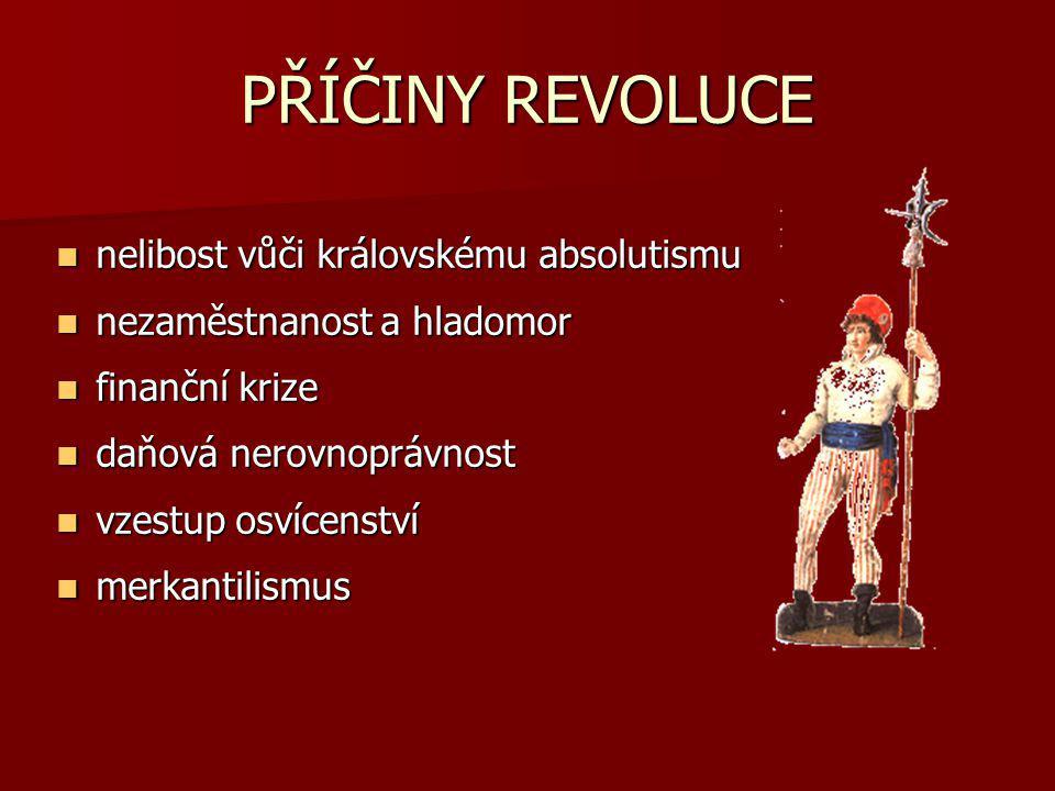 PŘÍČINY REVOLUCE nelibost vůči královskému absolutismu nelibost vůči královskému absolutismu nezaměstnanost a hladomor nezaměstnanost a hladomor finan