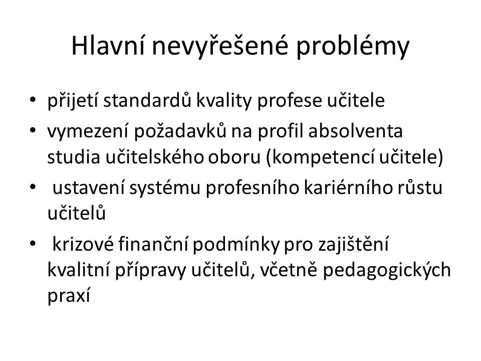Hlavní nevyřešené problémy přijetí standardů kvality profese učitele vymezení požadavků na profil absolventa studia učitelského oboru (kompetencí učitele) ustavení systému profesního kariérního růstu učitelů krizové finanční podmínky pro zajištění kvalitní přípravy učitelů, včetně pedagogických praxí