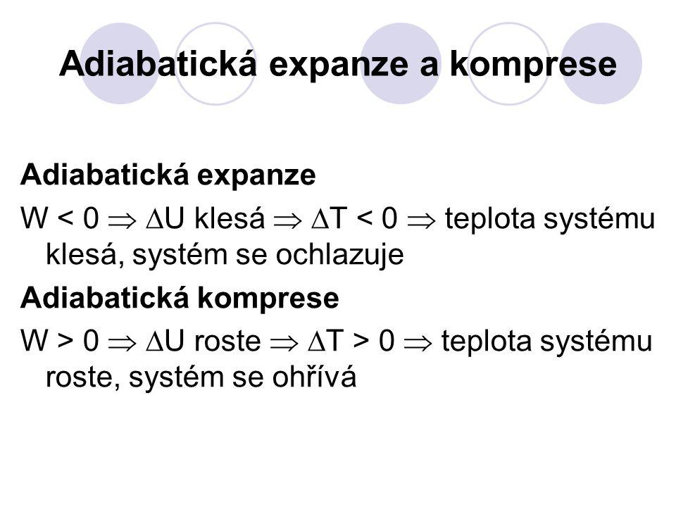 Adiabatická expanze a komprese Adiabatická expanze W < 0   U klesá   T < 0  teplota systému klesá, systém se ochlazuje Adiabatická komprese W > 0