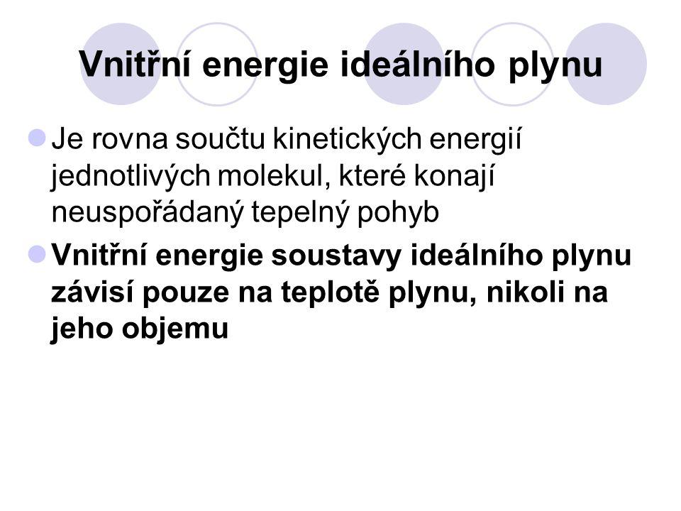 Vnitřní energie ideálního plynu Je rovna součtu kinetických energií jednotlivých molekul, které konají neuspořádaný tepelný pohyb Vnitřní energie sous