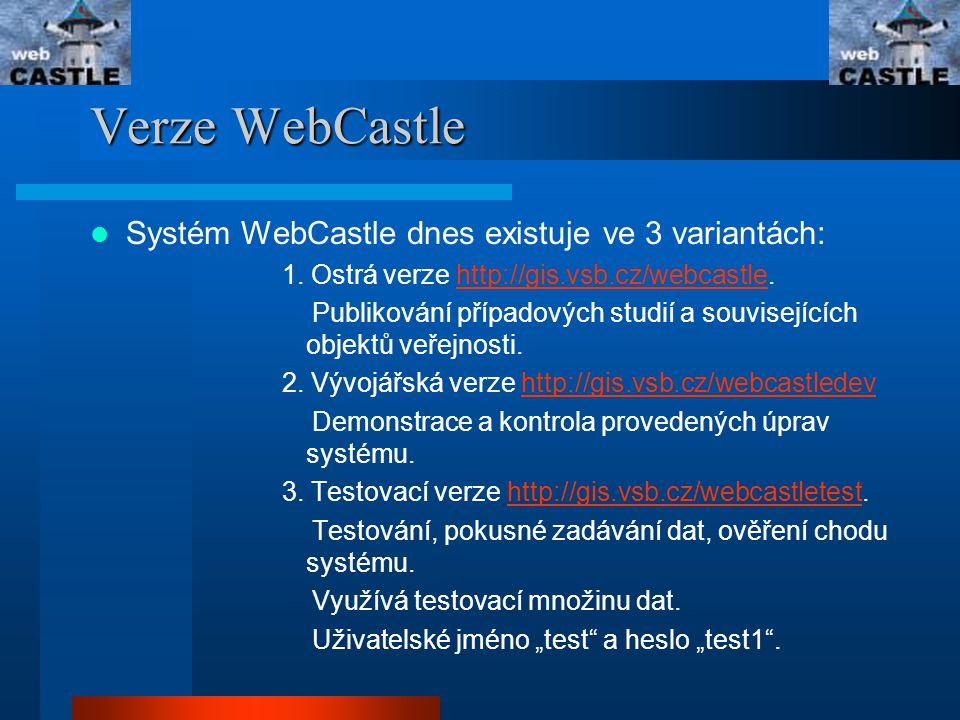 Verze WebCastle Systém WebCastle dnes existuje ve 3 variantách: 1.