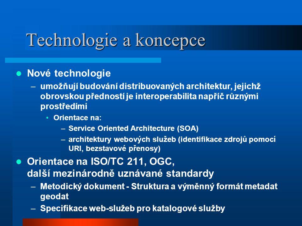 Technologie a koncepce Nové technologie –umožňují budování distribuovaných architektur, jejichž obrovskou předností je interoperabilita napříč různými prostředími Orientace na: –Service Oriented Architecture (SOA) –architektury webových služeb (identifikace zdrojů pomocí URI, bezstavové přenosy) Orientace na ISO/TC 211, OGC, další mezinárodně uznávané standardy –Metodický dokument - Struktura a výměnný formát metadat geodat –Specifikace web-služeb pro katalogové služby