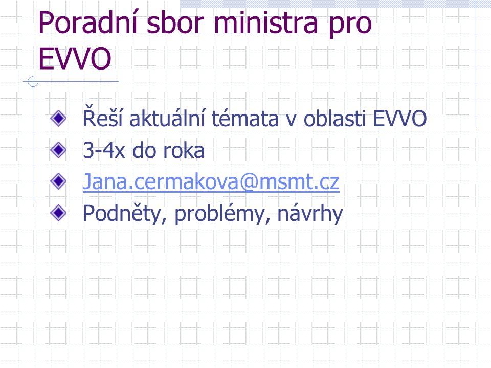 Poradní sbor ministra pro EVVO Řeší aktuální témata v oblasti EVVO 3-4x do roka Jana.cermakova@msmt.cz Podněty, problémy, návrhy