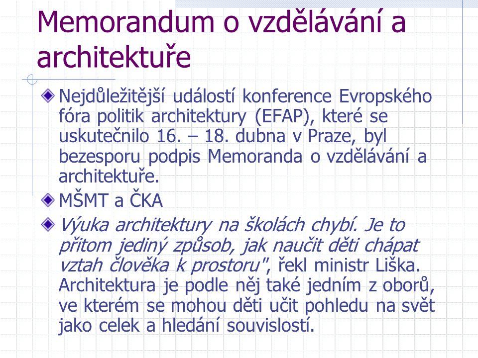 Memorandum o vzdělávání a architektuře Nejdůležitější událostí konference Evropského fóra politik architektury (EFAP), které se uskutečnilo 16. – 18.