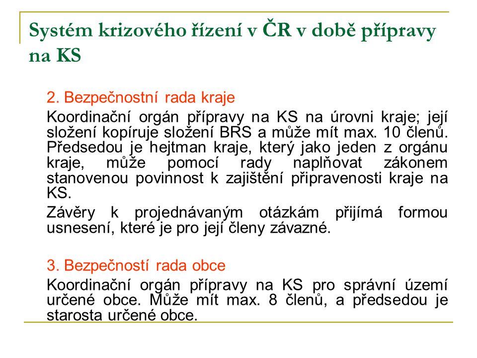 Systém krizového řízení v ČR v době přípravy na KS 2. Bezpečnostní rada kraje Koordinační orgán přípravy na KS na úrovni kraje; její složení kopíruje