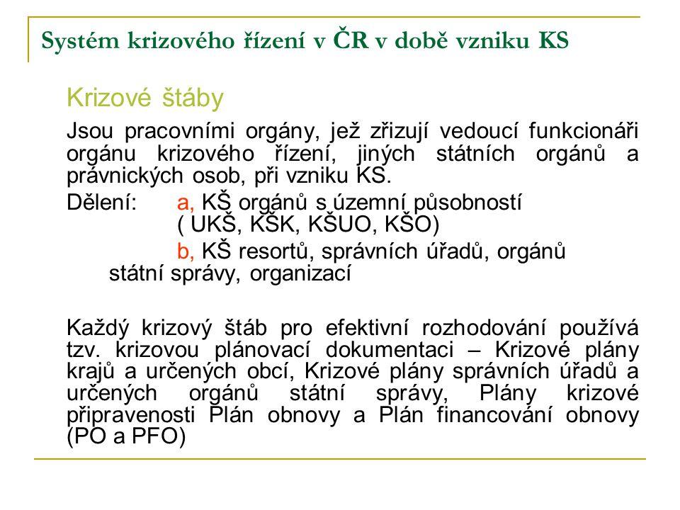 Systém krizového řízení v ČR v době vzniku KS Krizové štáby Jsou pracovními orgány, jež zřizují vedoucí funkcionáři orgánu krizového řízení, jiných st