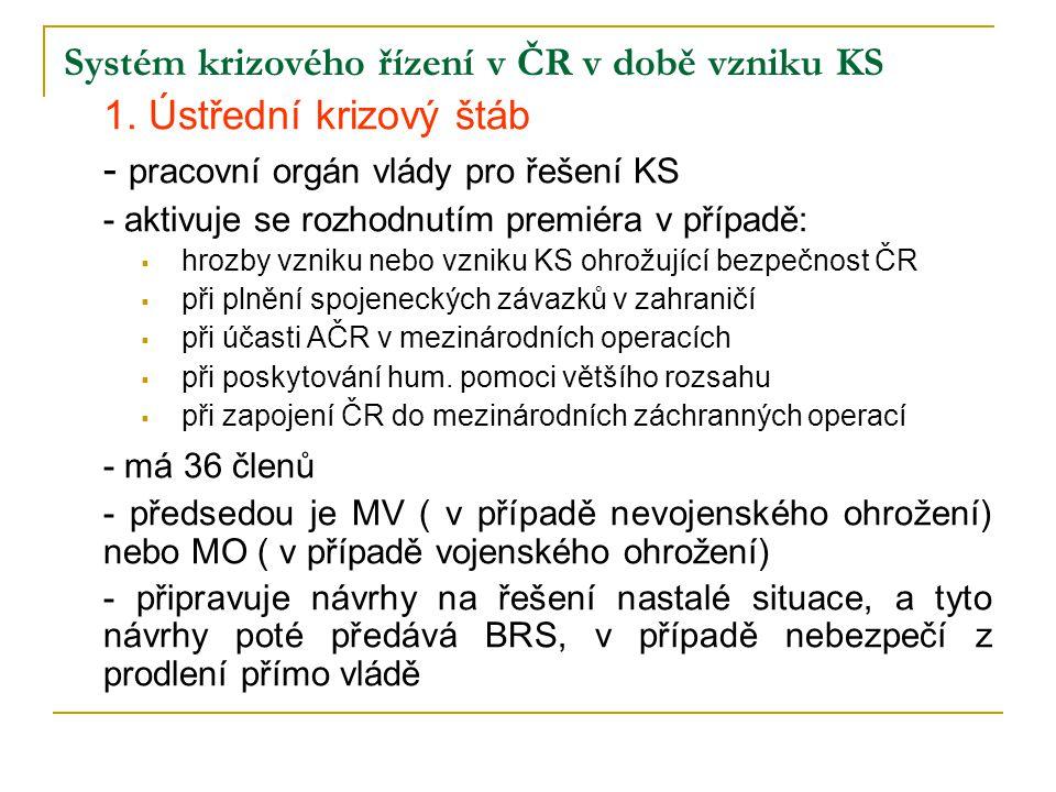 Systém krizového řízení v ČR v době vzniku KS 1. Ústřední krizový štáb - pracovní orgán vlády pro řešení KS - aktivuje se rozhodnutím premiéra v přípa