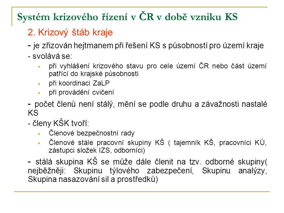 Systém krizového řízení v ČR v době vzniku KS 2. Krizový štáb kraje - je zřizován hejtmanem při řešení KS s působností pro území kraje - svolává se: 