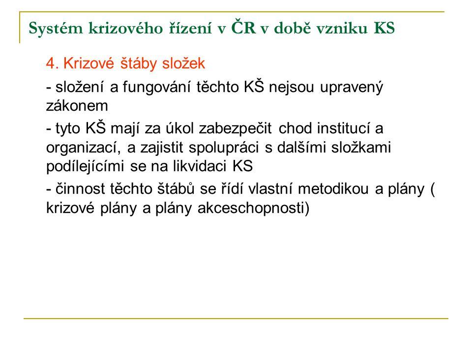 Systém krizového řízení v ČR v době vzniku KS 4. Krizové štáby složek - složení a fungování těchto KŠ nejsou upravený zákonem - tyto KŠ mají za úkol z