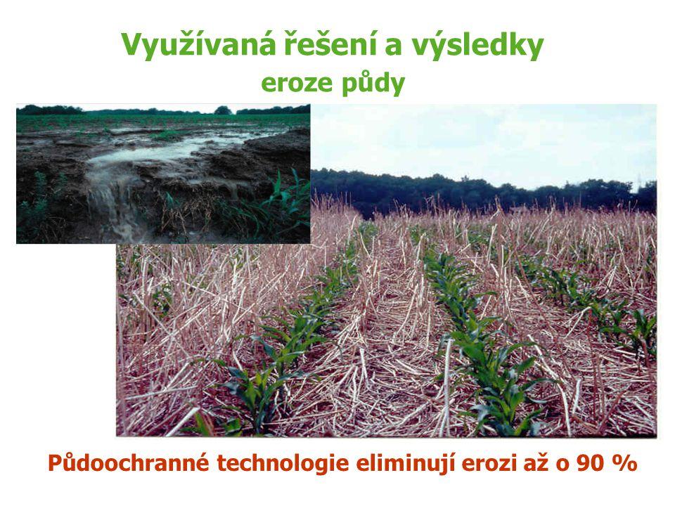 Využívaná řešení a výsledky eroze půdy Půdoochranné technologie eliminují erozi až o 90 %